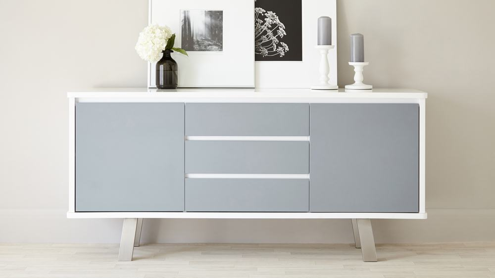 Modern White and Grey Gloss Sideboard