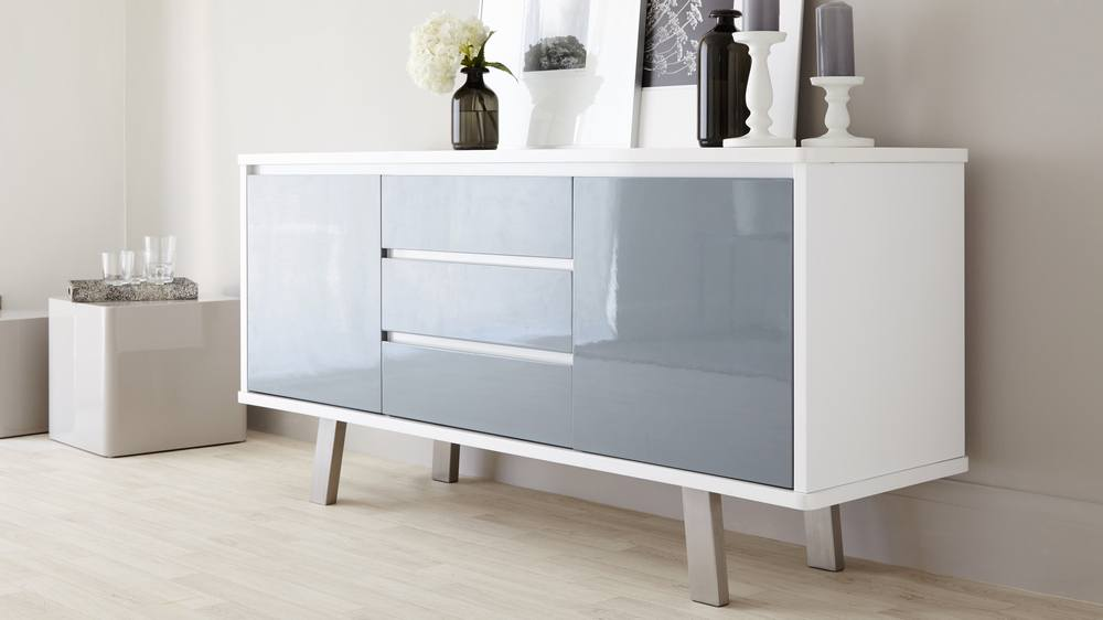 Contemporary Multi- Storage Gloss Sideboard with Brushed Metal Legs