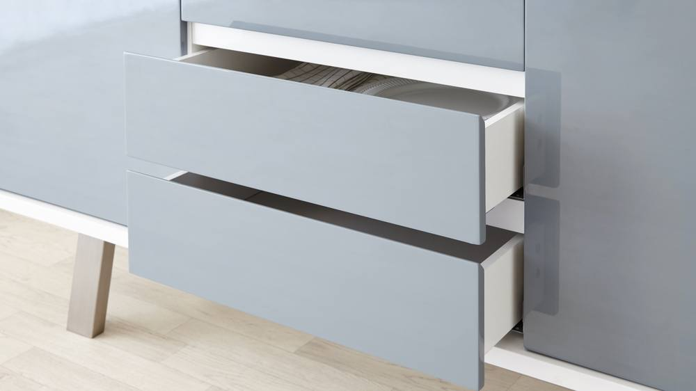 Stylish Large White and Grey Gloss Sideboard