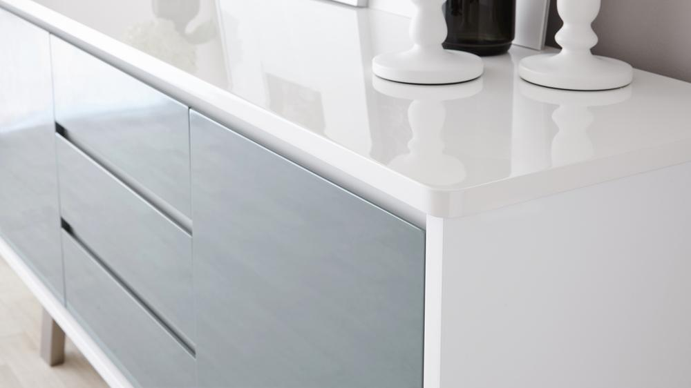 Assi White Gloss Sideboard Modern White And Grey Sideboard