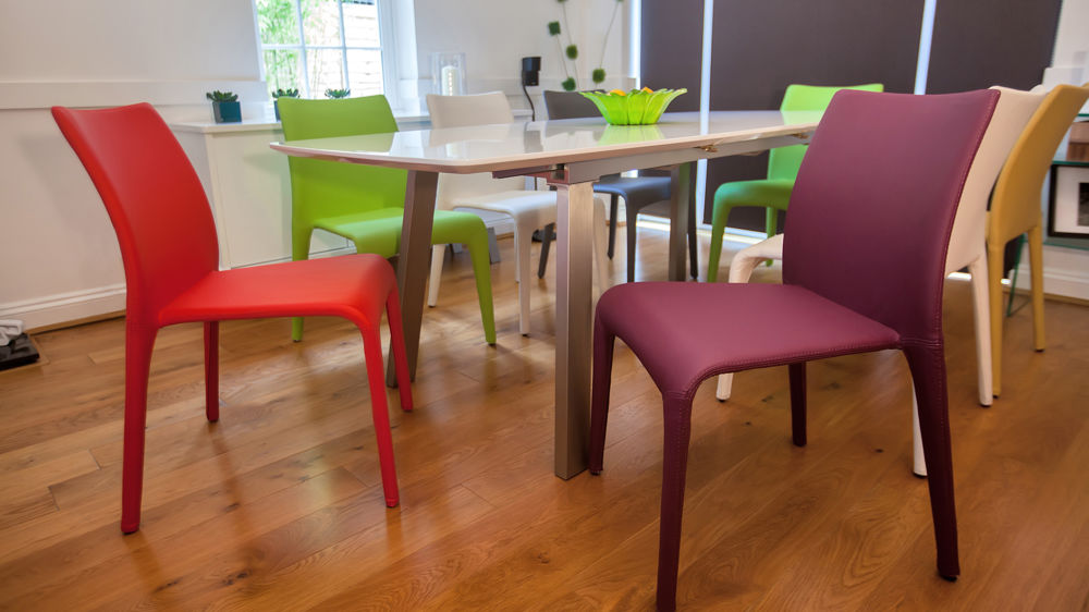 6-8 Seater Extending Dining Table and Coloured Chairs