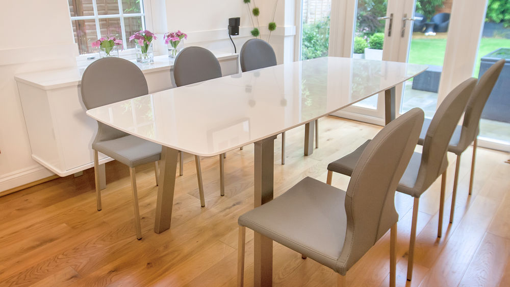 White High Gloss Extending Dining Set Grey Or White