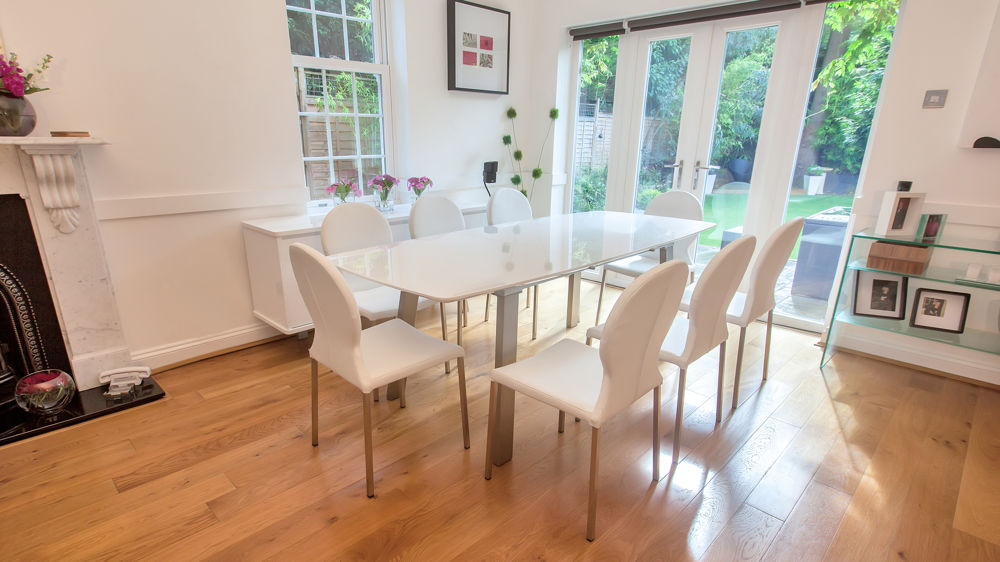 Modern Gloss Extending Dining Table and White Leather Chairs