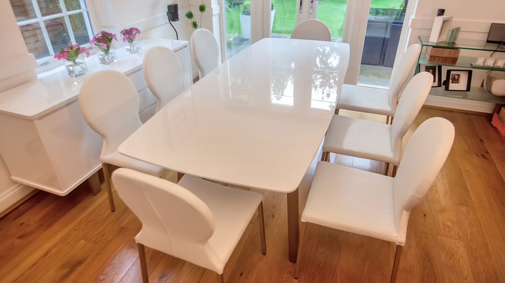 White Gloss Extending Dining Table and White Leather Dining Chairs