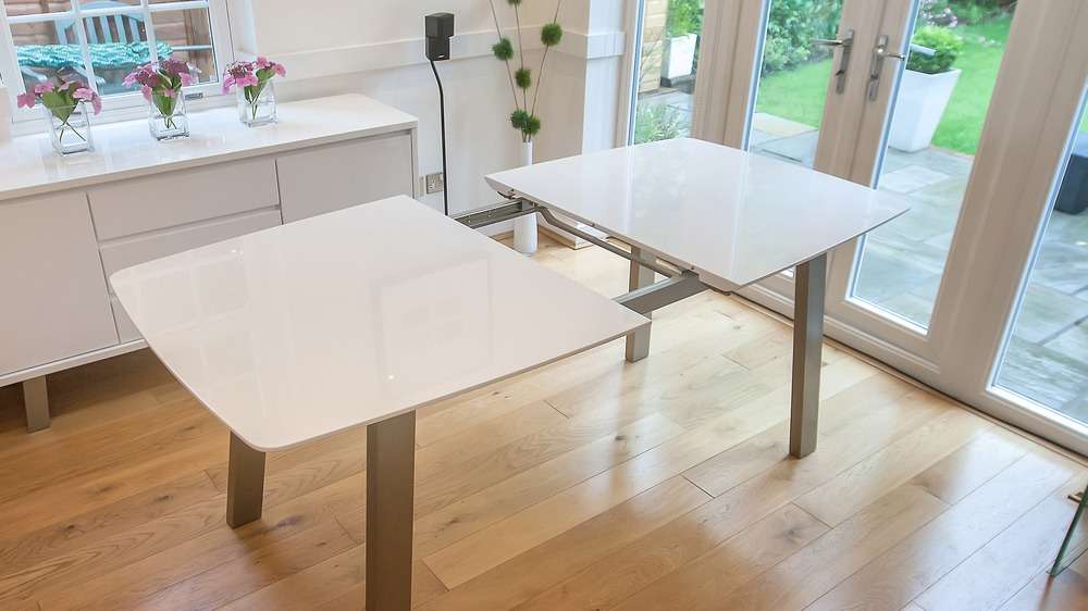 White Extending Dining Table with Metal Legs