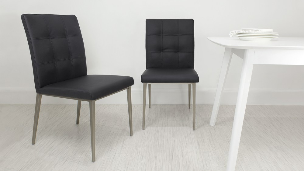 Contemporary Black Quilted Dining Chair