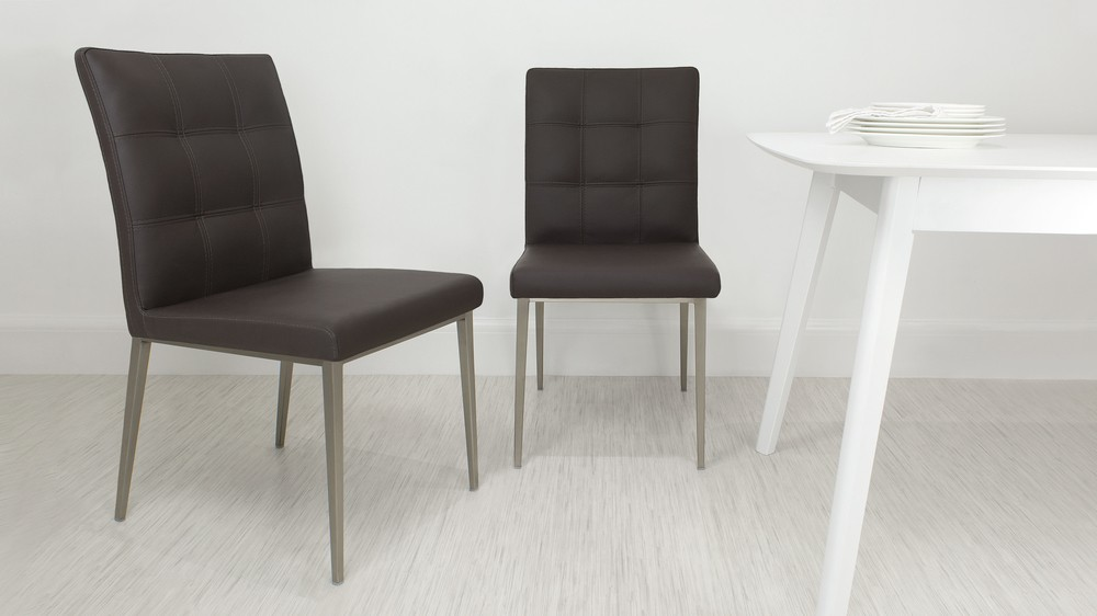 Contemporary Brown Quilted Dining Chair
