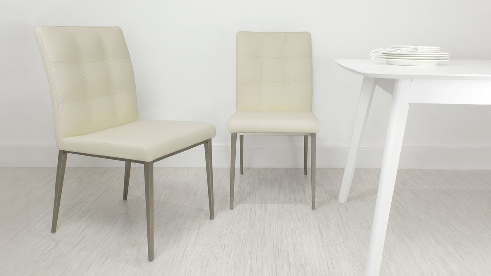 Contemporary Cream Quilted Dining Chair