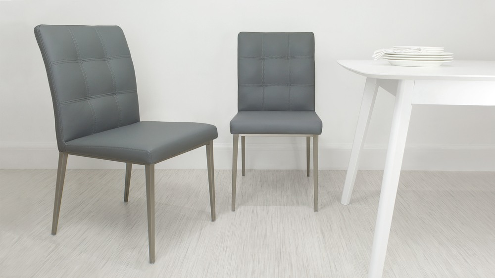 Contemporary Grey Quilted Dining Chair