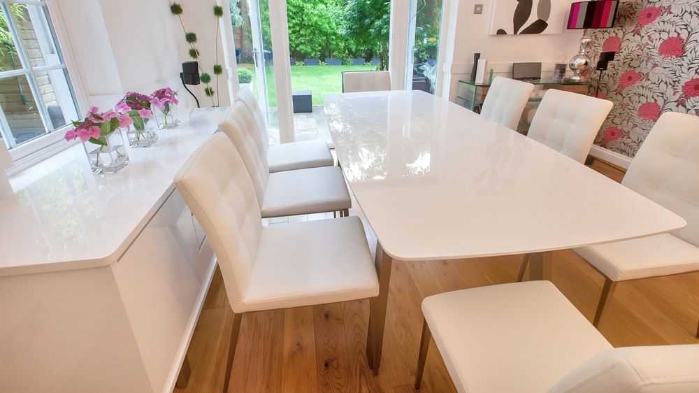 Large White Gloss Extending Dining Table and White Dining Chairs