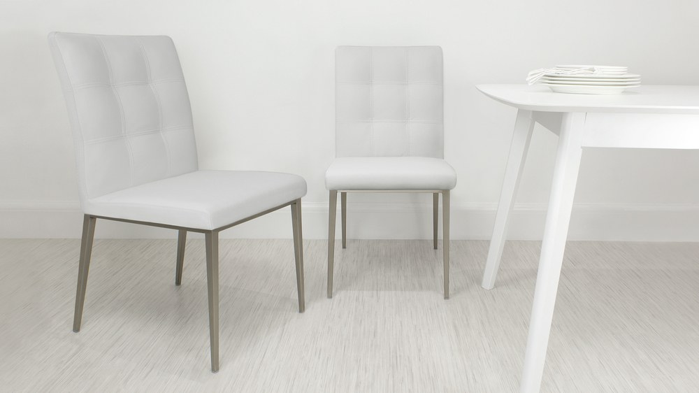 Contemporary White Quilted Dining Chair