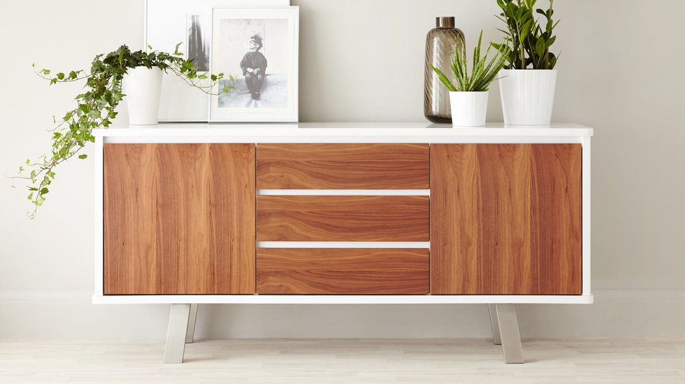 Large White Gloss Sideboard with Wooden Drawers