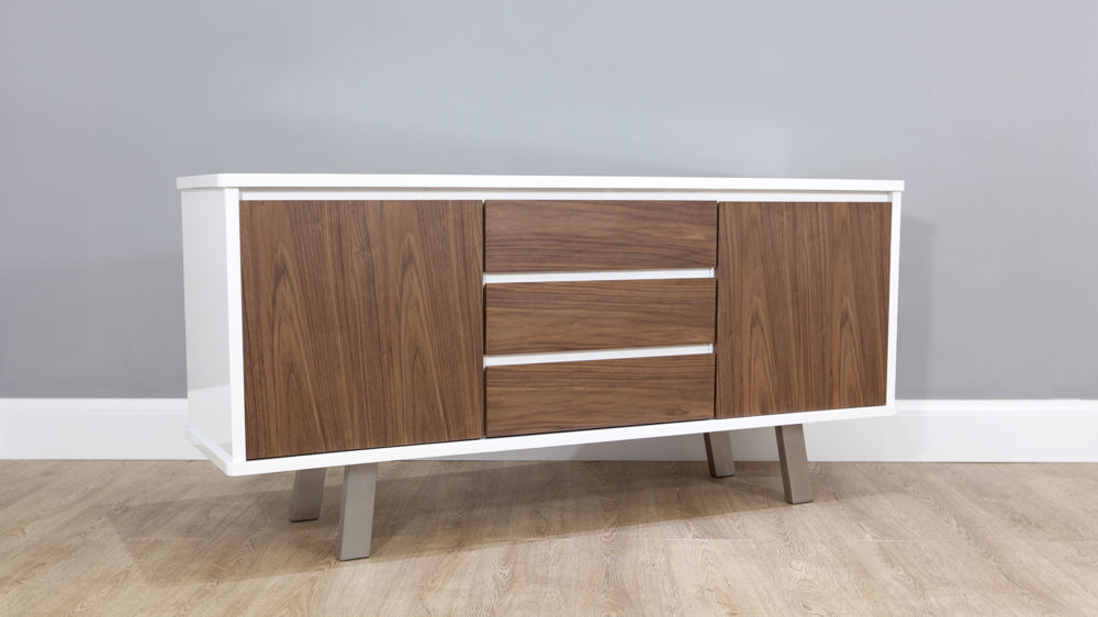 White Gloss And Walnut Sideboard