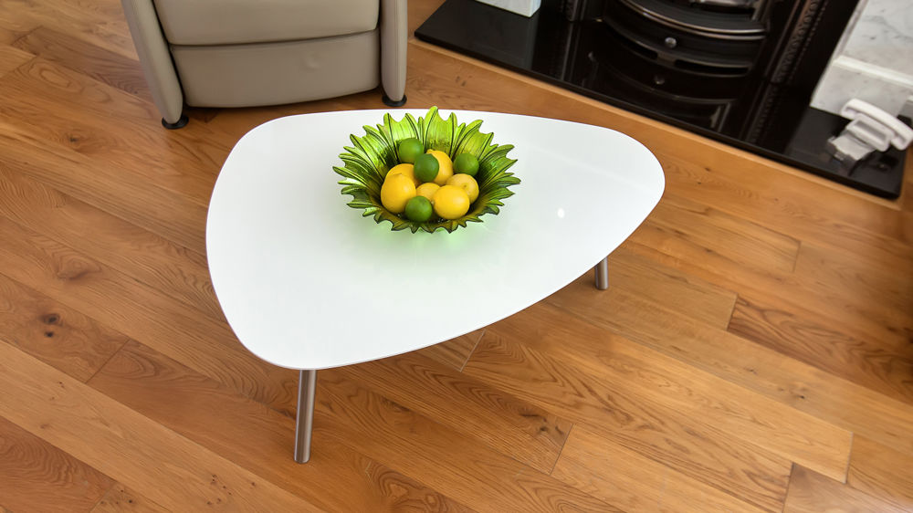 Contemporary Shaped White Gloss Coffee Table