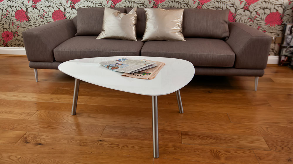 White Gloss and Brushed Metal Legged Coffee Table
