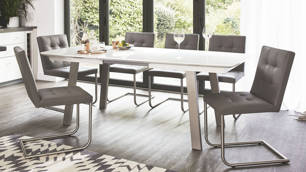 White gloss extending table with danni chair
