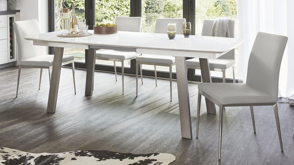 Extending white gloss dining table seats 8 brushed metal - White extending dining tables ...
