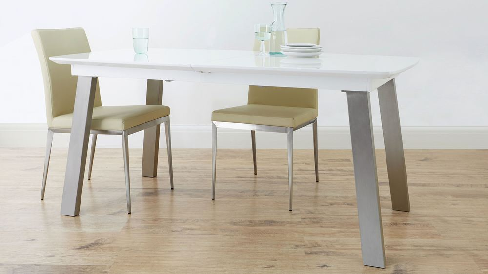 Buy white gloss and brushed chrome dining table