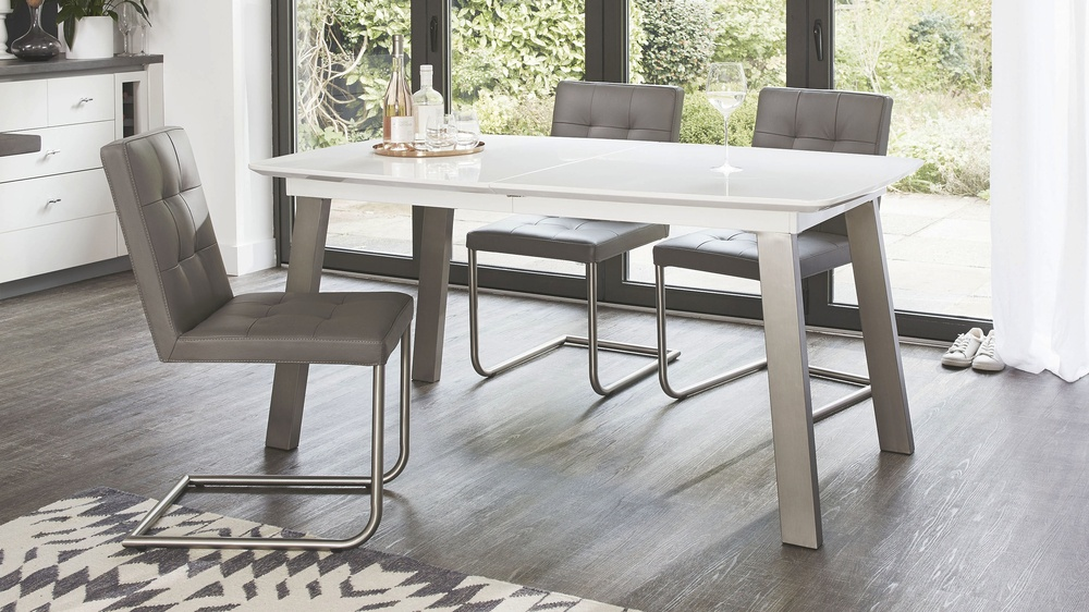 Modern White Gloss Extending Dining Table with Metal Legs