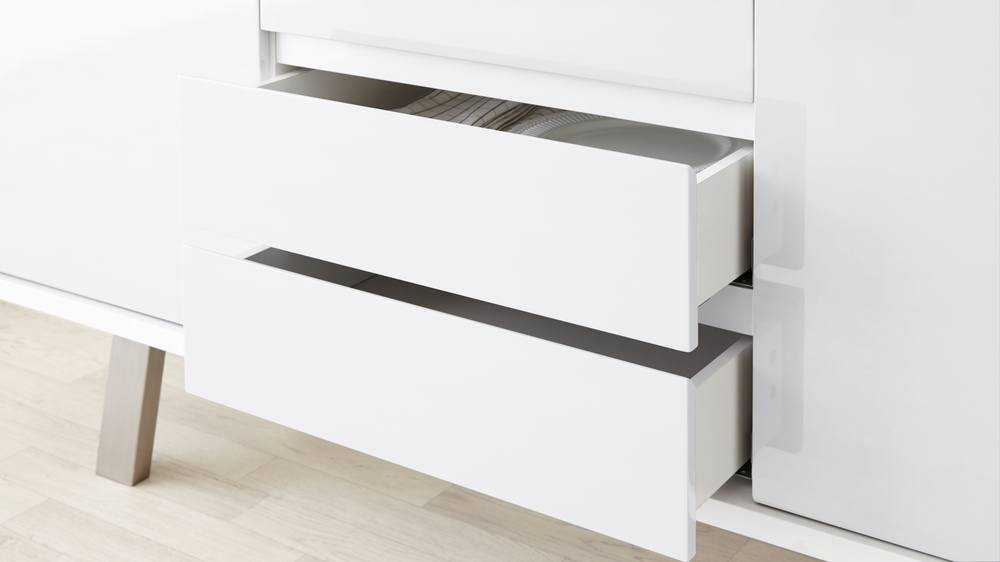 contemporary white gloss storage unit