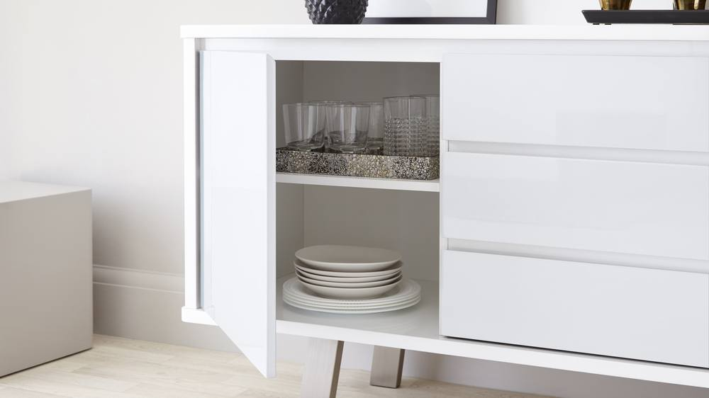 whit gloss sideboard with cupboards and drawers