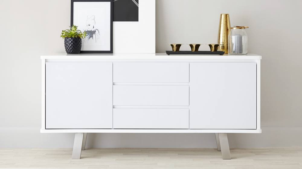 white gloss side board