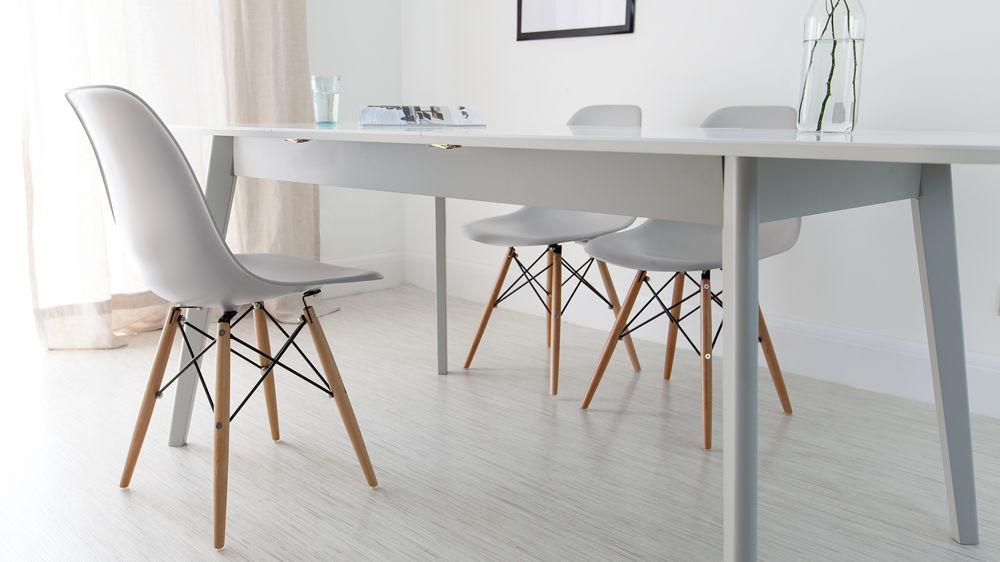 Eames Style Dining Chair. Contemporary White And Grey Dining Set. Modern  Grey Extending Dining Set