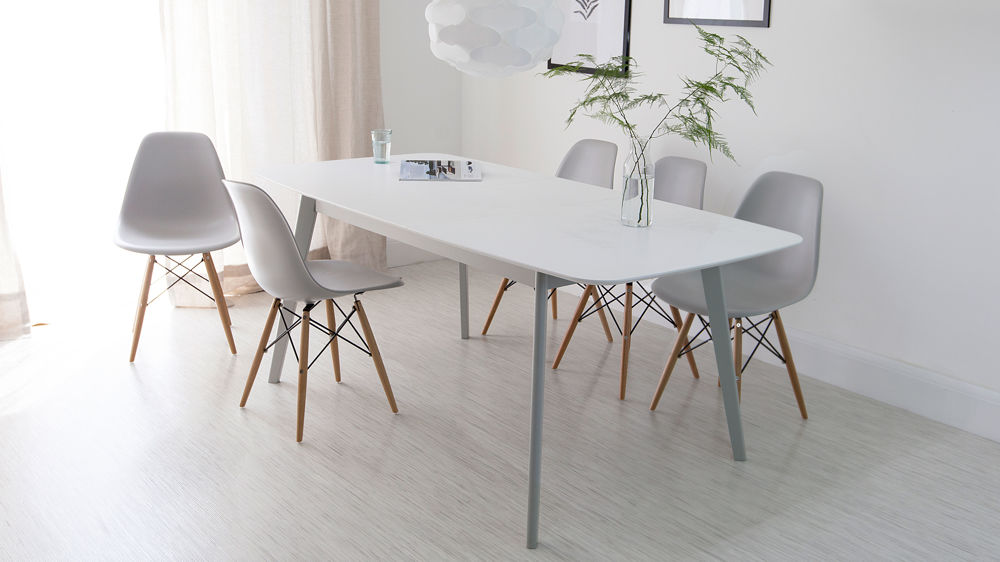Aver grey & white extending dining table and Eames chairs