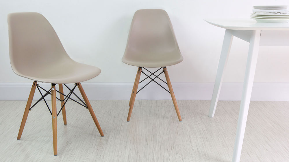 Beige Eames Dining Chairs