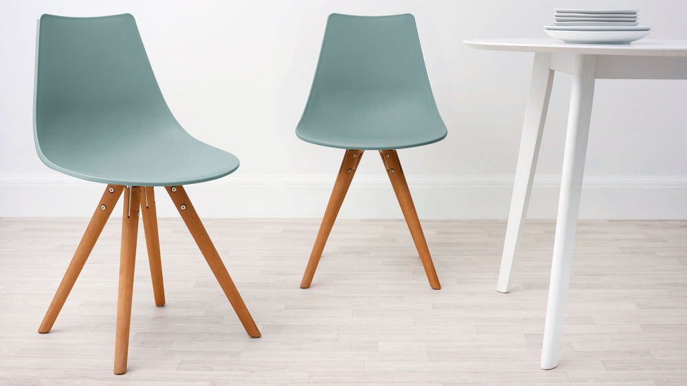 Aqua plastic and woods dining chair