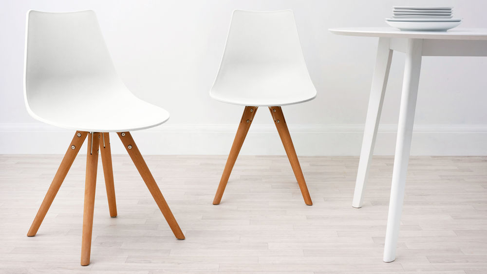 White plastic and woods dining chair