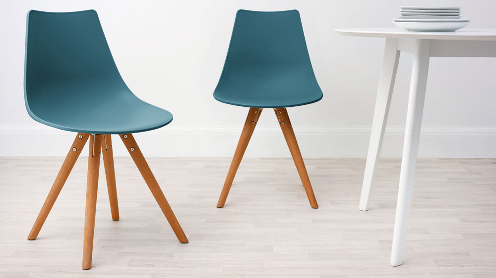 Teal plastic and woods dining chair