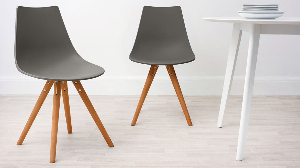 Taupe plastic and woods dining chair