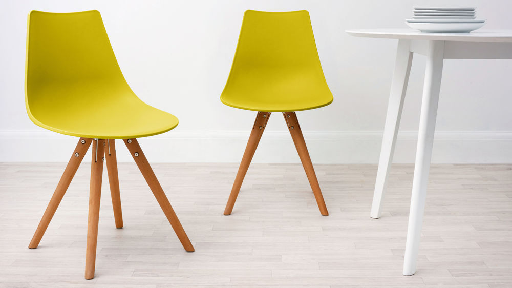 Mustard Yellow Plastic And Woods Dining Chair