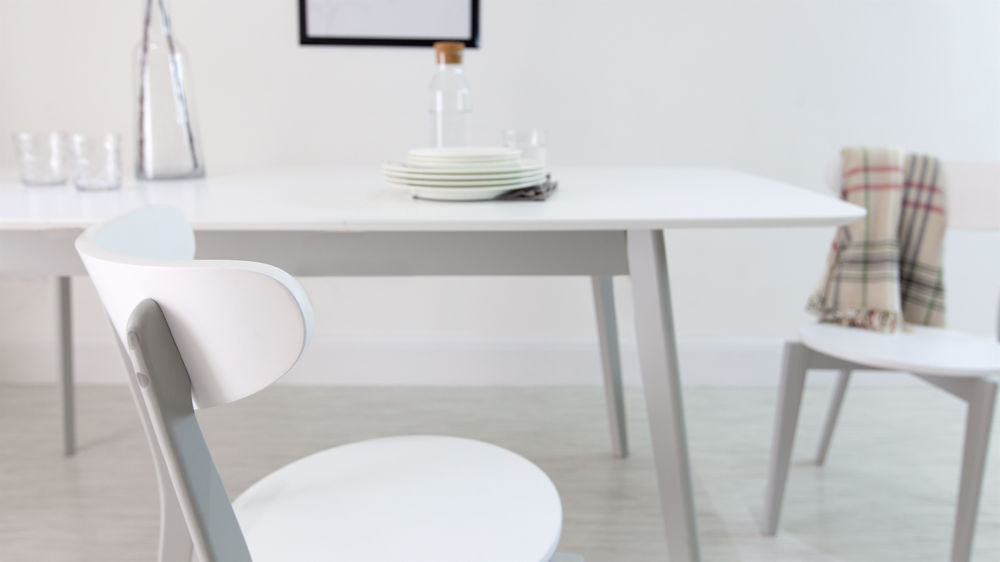 Matt White And Grey Extending Family Dining Set Uk