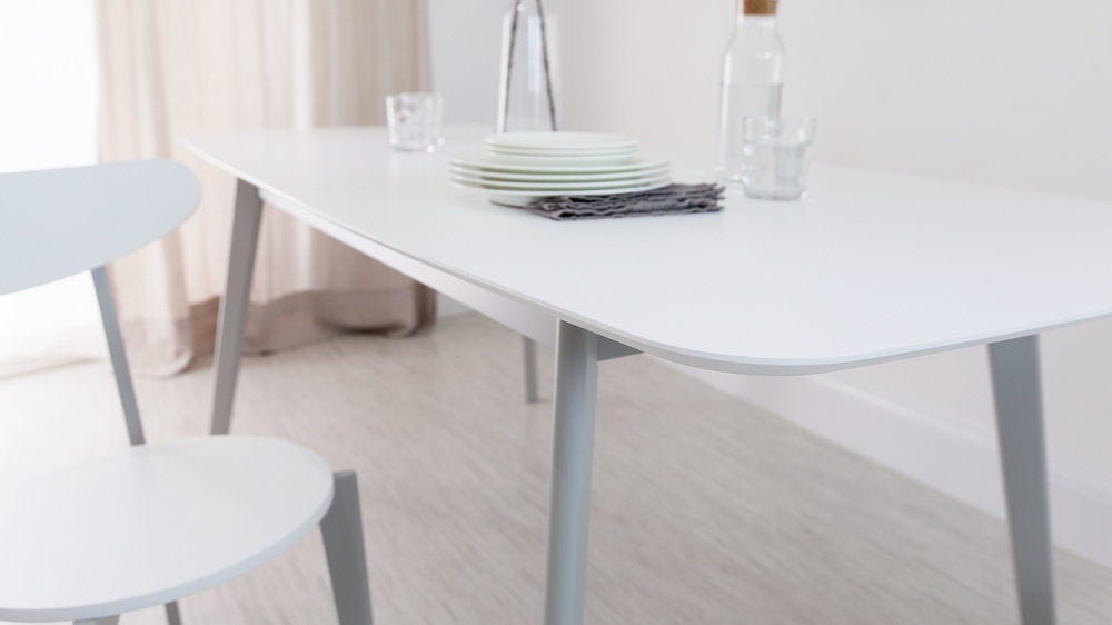 Superior White Table Uk Part - 3: Modern White And Grey Extending Dining Table
