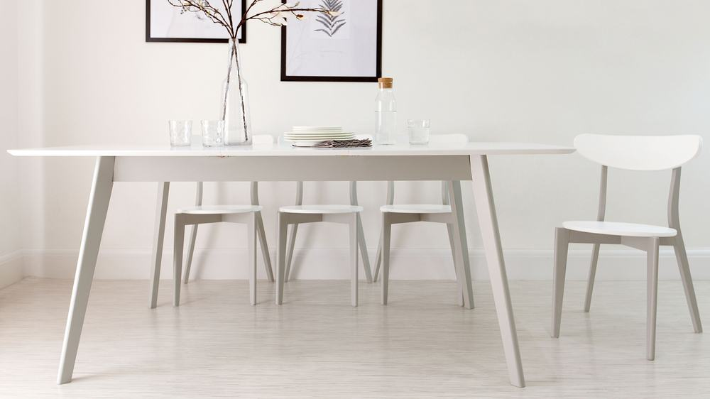 Modern Grey And White Extending Dining Table Seater Uk