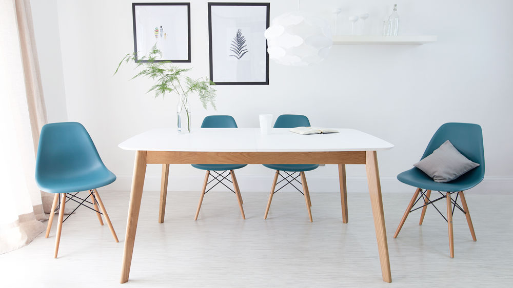Aver Oak And White Extending Eames Dining Set