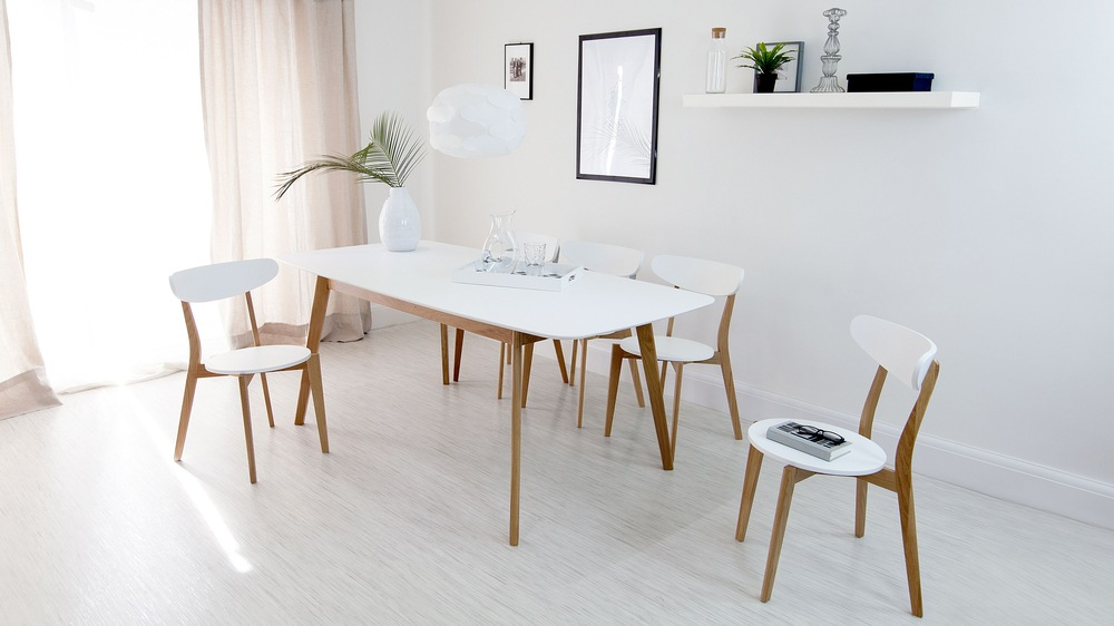 Modern White And Oak Extending Dining Set Chairs