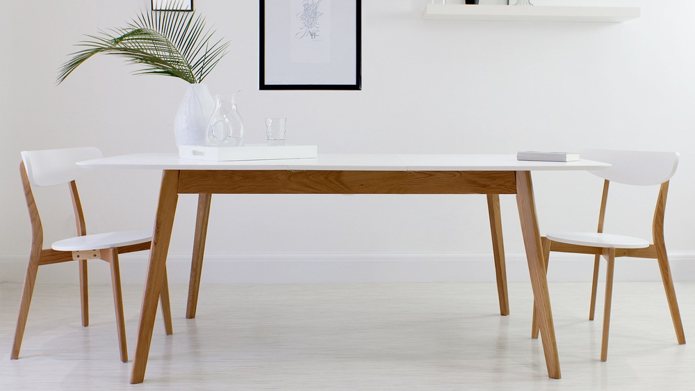 Home Tables Dining Tables Aver Oak And White Extending Dining Table