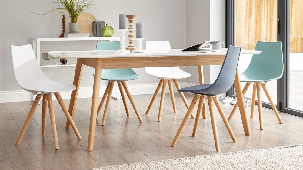 White oak table 8 seater extending dining table for Comedor popular funciones