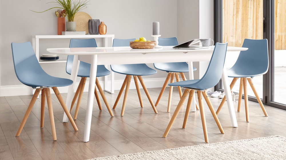 Buy matt white extending dining table