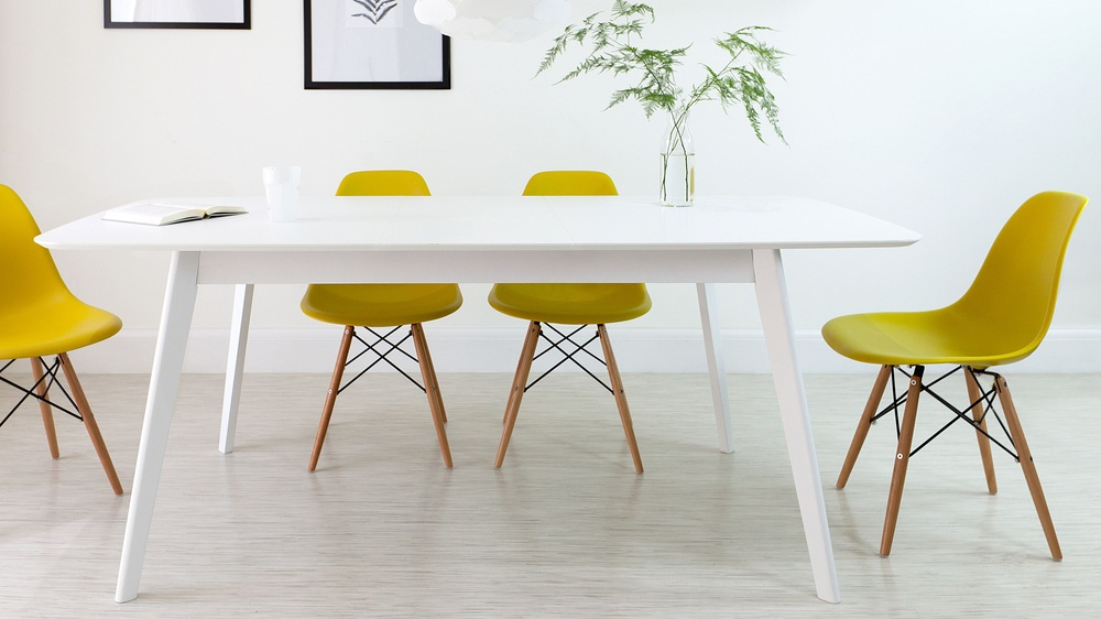 Yellow and White Extending Dining Set