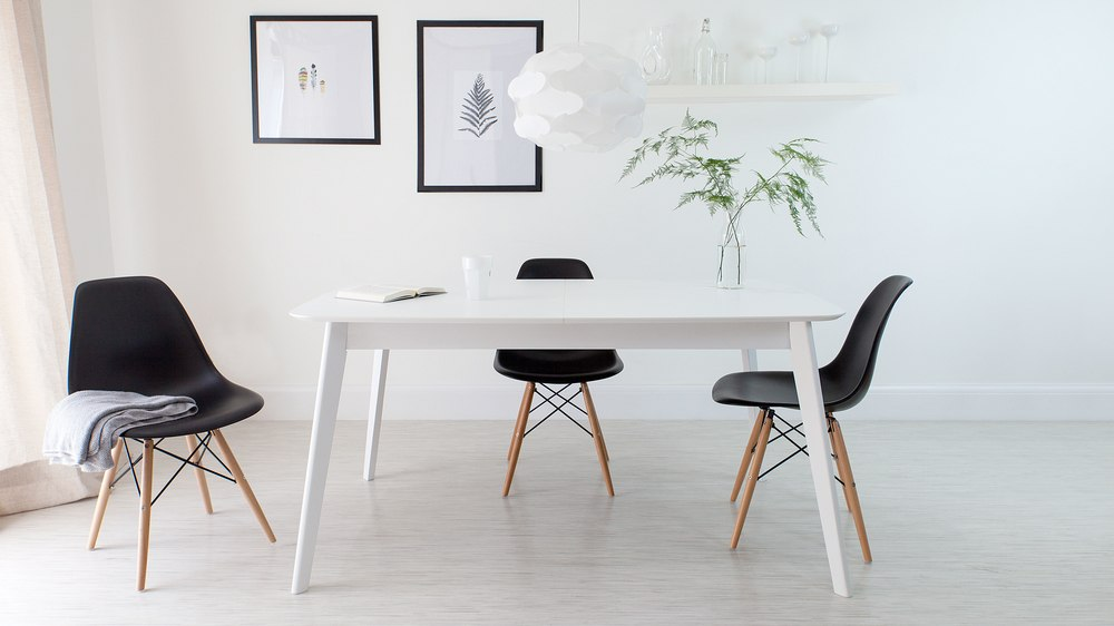 Black Eames Style Extending Dining Set
