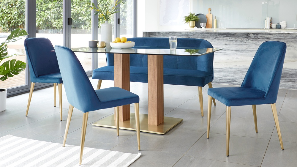 Remarkable Bay Sapphire Blue Velvet And Brushed Brass Chair Machost Co Dining Chair Design Ideas Machostcouk