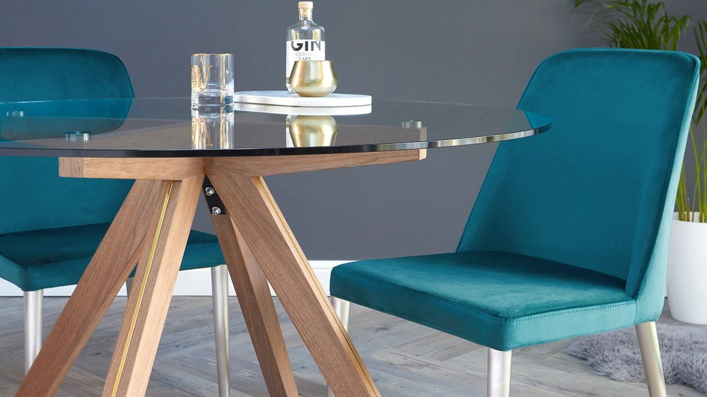 Buy teal velvet and brushed steel dining chairs