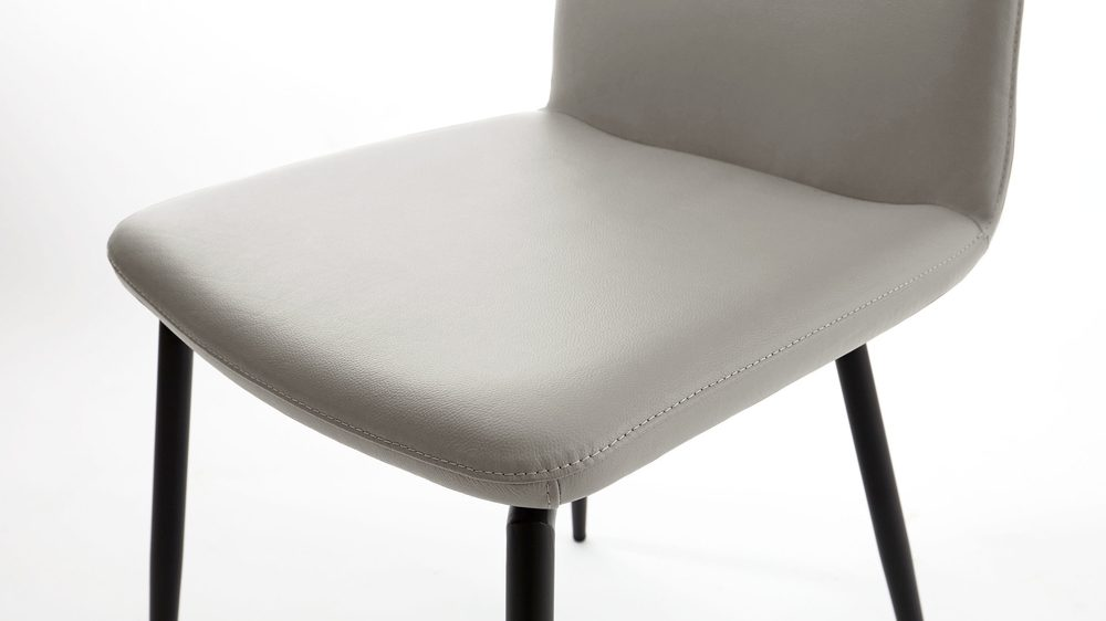 Cool grey leather dining chairs