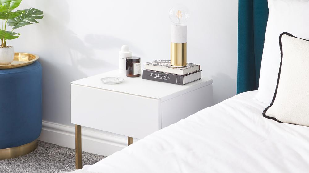 White & Brass side Table