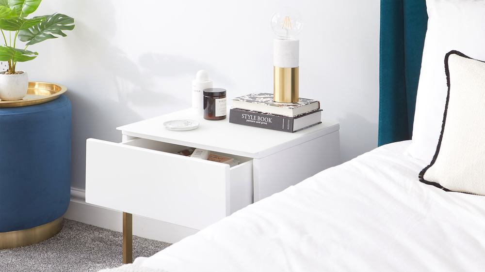 Benton Single Drawer White Bedside Table with Brass Legs