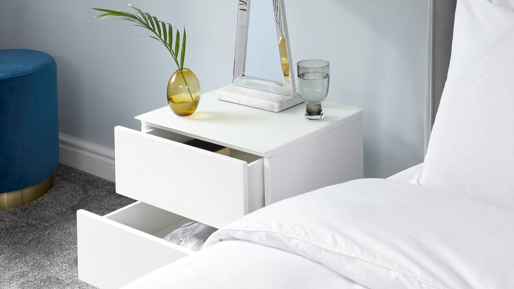 Benton White Double Drawer Bedside Table with Chrome Legs